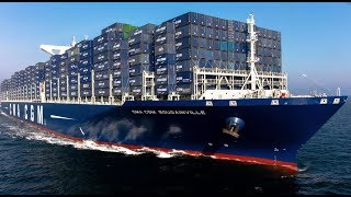 Download Top 10 Biggest Container Ships Floating on Waves in Ocean Video