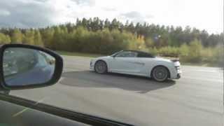 Download Audi R8 GT Spyder vs Nissan GT-R 530 HP decat Y-pipe (facelift) Video
