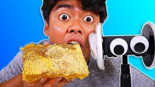 Download I Tried ASMR... Eating Raw Honeycomb, Floral Foam, Watermelon (Sticky Crunchy Sounds) Video