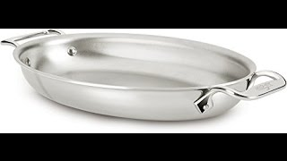 Download all clad 4612 stainless steel tri ply bonded dishwasher safe oval au gratin pan cookware silver Video