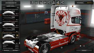 Download (Ets2 1.28)Scania RS 6 series (RJL) Red & White Custom Skin Combo Pack + Accessory Parts Video