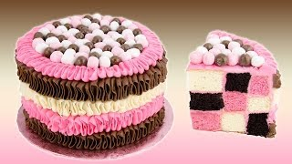 Download Checkerboard Neapolitan Cake Recipe from Cookies Cupcakes and Cardio Video