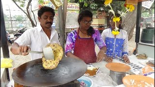 Download Indian Street Food: Aloo, Palak, Paneer / Cheese Paratha at ″Balaji Centre″ Lunsikui, Navsari, India Video