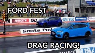 Download Focus RS vs Fiesta ST DRAG RACE!   FORD FEST 2016 Video