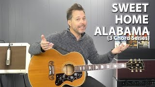 Download Sweet Home Alabama by Lynyrd Skynyrd - 3 Chord Series EASY Guitar Lesson Video