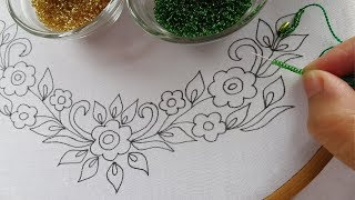 Download beaded hand embroidery neck design for dress,beads work, easy neck stitches Video