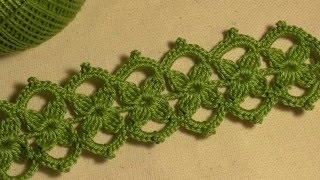 Download Тесьма с маленькими цветочками вязанная крючком. Ирландское кружево. Видео-урок. Video