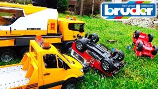 Download Tow trucks and Cars BRUDER for children Help after Racing Crash Video For kids Toys Cars Video
