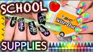 Download Back to School Nails using ONLY SCHOOL SUPPLIES!!! Challenge Video