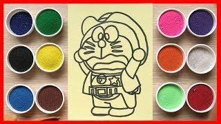 Download Đồ chơi trẻ em TÔ MÀU TRANH CÁT ĐÔRAÊMON cao bồi cùng chị Chim Xinh | Learn colors Sand painting Video