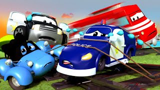 Download Police car for kids - Tied to the Train Tracks - Car Patrol in Car City ! Video