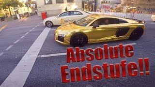 Download Goldener Audi R8!   Rennen, Sound, Fehlzündungen Video