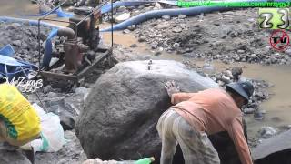Download Old Man Breaking The Big Rocks By Hand Chisels Video