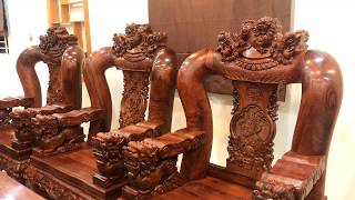 Download Bộ ghế gỗ cẩm lai tay 20 đục nghê đẹp nhất! [NỘI THẤT GỖ QUÝ] Video