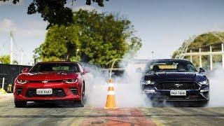 Download Ford Mustang GT e Chevrolet Camaro SS na pista de arrancada Video