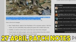 Download Final Fantasy XV April 27 Update Patch Notes (Quest Rankings ,LvL180 Enemy?, New Weapon,,etc...) Video