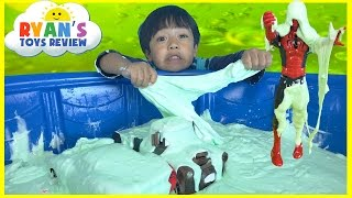 Download HOW TO MAKE GIANT SLIME GOO in Kiddie Pool Disney Cars toys McQueen Mater Spiderman Minions Video