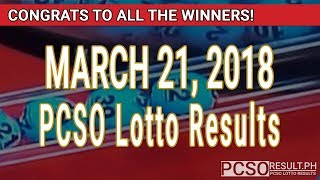 Download PCSO Lotto Results Today March 21, 2018 (6/55, 6/45, 4D, Swertres, STL & EZ2) Video