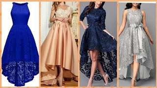 Download American style outstanding long sleeve evening dress silk and net lase fabric high-low tel prom dres Video