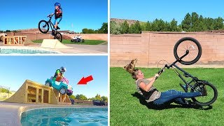 Download Jumping Power Wheels Ride On Fun Cars into Backyard Swimming Pool Goes Funny!! Video