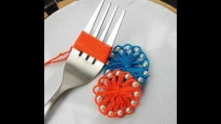 Download Hand Embroidery Amazing trick #sewing Hack With Fork #Flower Embroidery With Fork #Sewing Hack Video