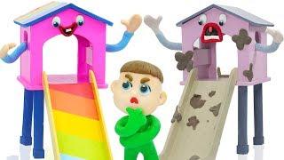 Download SUPERHERO BABY PLAYS NEW RAINBOW COLORS SLIDE 💖 Animation Cartoons Play Doh Video