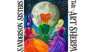 Download How to paint with Acrylic on Canvas Hocus Pocus witch Sisters Video