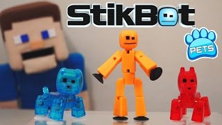 Download STIKBOT PETS Stik Dog, Bulldog, Cat, Monkey Series 1 FIRST LOOK! Toy Unboxing Zing Puppet Steve Video