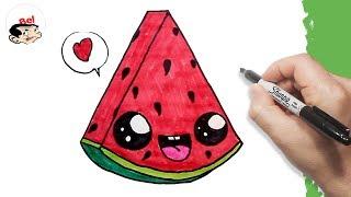 Download تعليم الرسم للاطفال | كيف ترسم بطيخ احمر | Drawing a cute watermelon easily Video