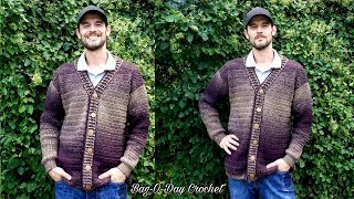 Download How To Crochet a Mens Cardigan Sweater | A Sweater for Pat | BAG O DAY CROCHET TUTORIAL #527 Video