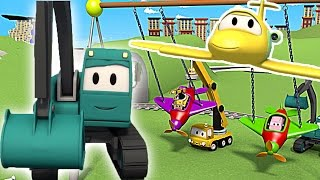 Download Construction Squad: the Dump Truck, the Crane and the Excavator build a Swinging babies in Car City Video