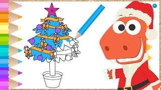 Download Aprende con Eddie a colorear el árbol de Navidad 🎄 Eddie el dinosaurio dibuja un árbol navideño Video