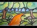 Download cara menggambar pemandangan alam jalan dan hutan Video