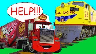 Download Big Red Transport Truck in Trouble w/ Train! Red Car in Danger Underwater! Wrong Cars for Kids Video
