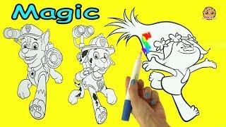 Download Magic Ink Rainbow Color Pen Surprise Picture Coloring Dreamworks Trolls + Paw Patrol Video