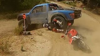 Download BAJA 500 2013 BIKE CRASH INTO TROPHY TRUCK RED BULL Video