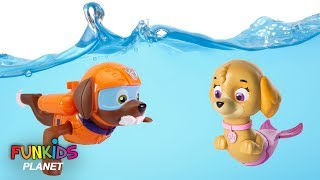 Download Paw Patrol Skye & Chase Scuba Dives with Zuma in Swimming pool Video