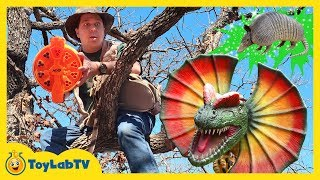 Download Giant Dinosaurs Attack Park Rangers Who Use Nerf Blaster Toys to Surprise Dinos and Save the Eggs Video