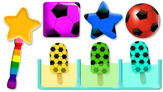 Download Learn Colors with 5 Color Soccer Ball Ice Cream | Learn Shapes for Children Video