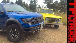 Download Old vs. New: 2014 Ford F-150 Raptor vs 1968 Bronco Pickup Off-Road Mashup Review Video