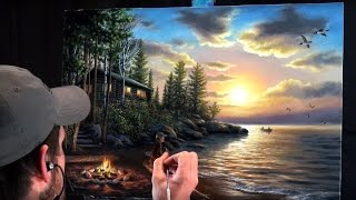 Download Acrylic Landscape Painting Time-lapse | Sunset at the lake Video