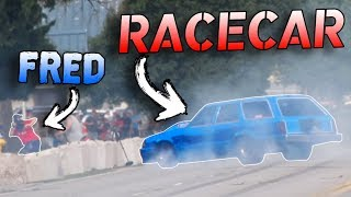 Download Legal Street Race Goes WRONG! (Car almost hits camera guy!) Video