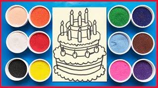 Download Đồ chơi trẻ em tô màu tranh cát sinh nhật 3 tầng- Colored Sand Painting (Chim Xinh) Video