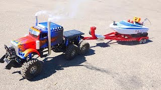 Download 6x6x6 OPTiMUS Semi Truck Launches RC Fishing Jet Boat | RC ADVENTURES Video