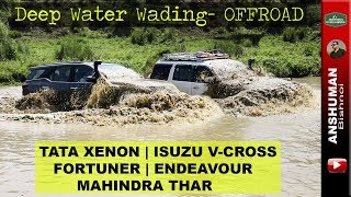 Download Tata Xenon, Fortuner, Thar, Endeavour | Water Wading | Offroading in Mud Video