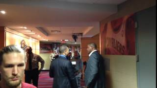 Download Tyronn Lue meets with Doc Rivers following Cavaliers loss Video