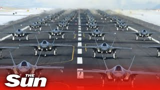 Download US Air Force stealth fighter B-52s in show of strength as Trump warns Iran Video