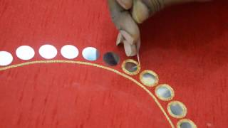 Download Mirror work making for Leaf Neck blouse - Maggam work making video Video