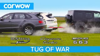Download AMG G63 vs Bentley Bentayga Speed & Porsche Cayenne Turbo - TUG OF WAR! Video