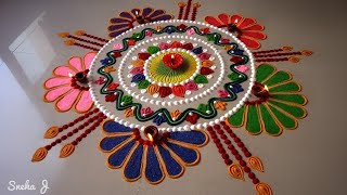 Download Beautiful free hand rangoli design | Video